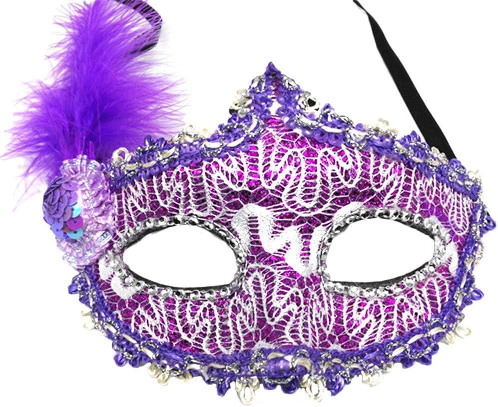 20 Suneast Femme plumes mascarade Masque v/énitien visage Masque de d/éguisement masques pour Halloween Boule de bal Carnaval f/ête 25cm Red