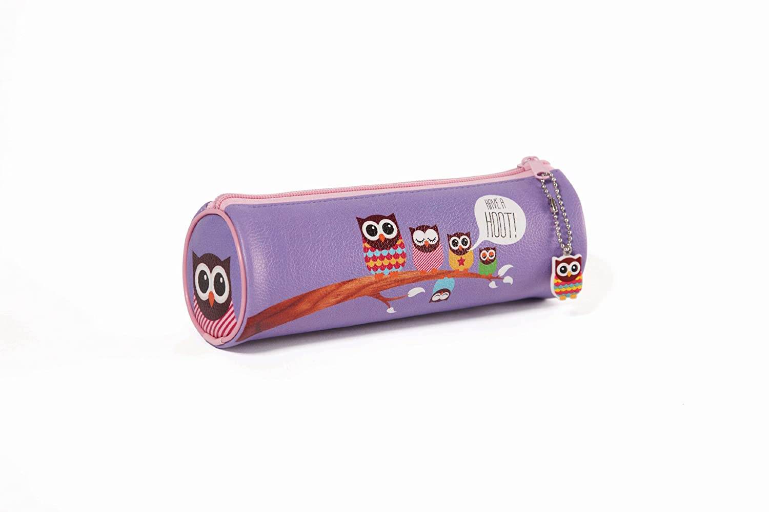 GIVE A HOOT Barrel PVC Pencil Case with Charm