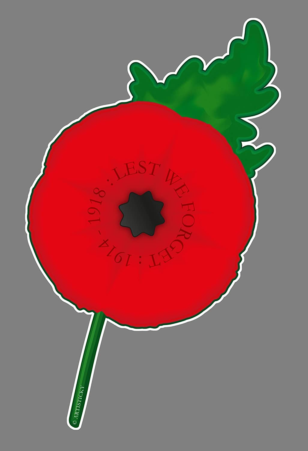 Artisticky Poppy Self-cling Window Sticker 85x135mm - FREE UK POSTAGE + DONATION TO RBL Artisticky Ltd