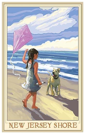 Amazon.com: Nueva Jersey Shore Girl perro playa arte cartel ...