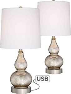 Castine Modern Accent Table Lamps Set of 2 with USB Charging Port Mercury Glass White Drum Shade for Living Room Bedroom - 360 Lighting