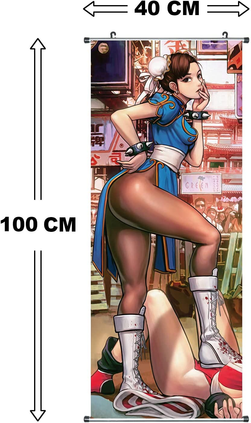 Kakemono de Street Fighter Hecho de pa/ño Poster para enrollar Tema: Chun Li 100x40cm