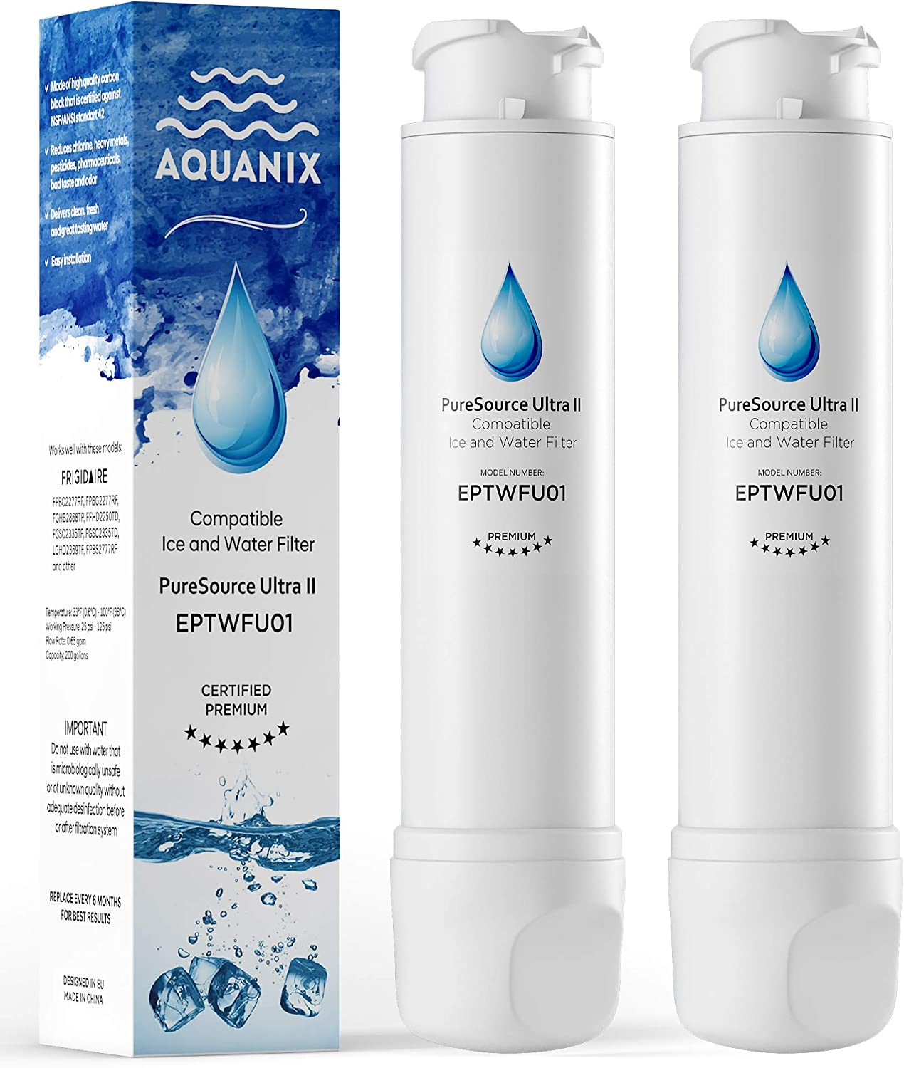 AQUANIX Premium Compatible Water Filter for French Doors Models (2 Pack)