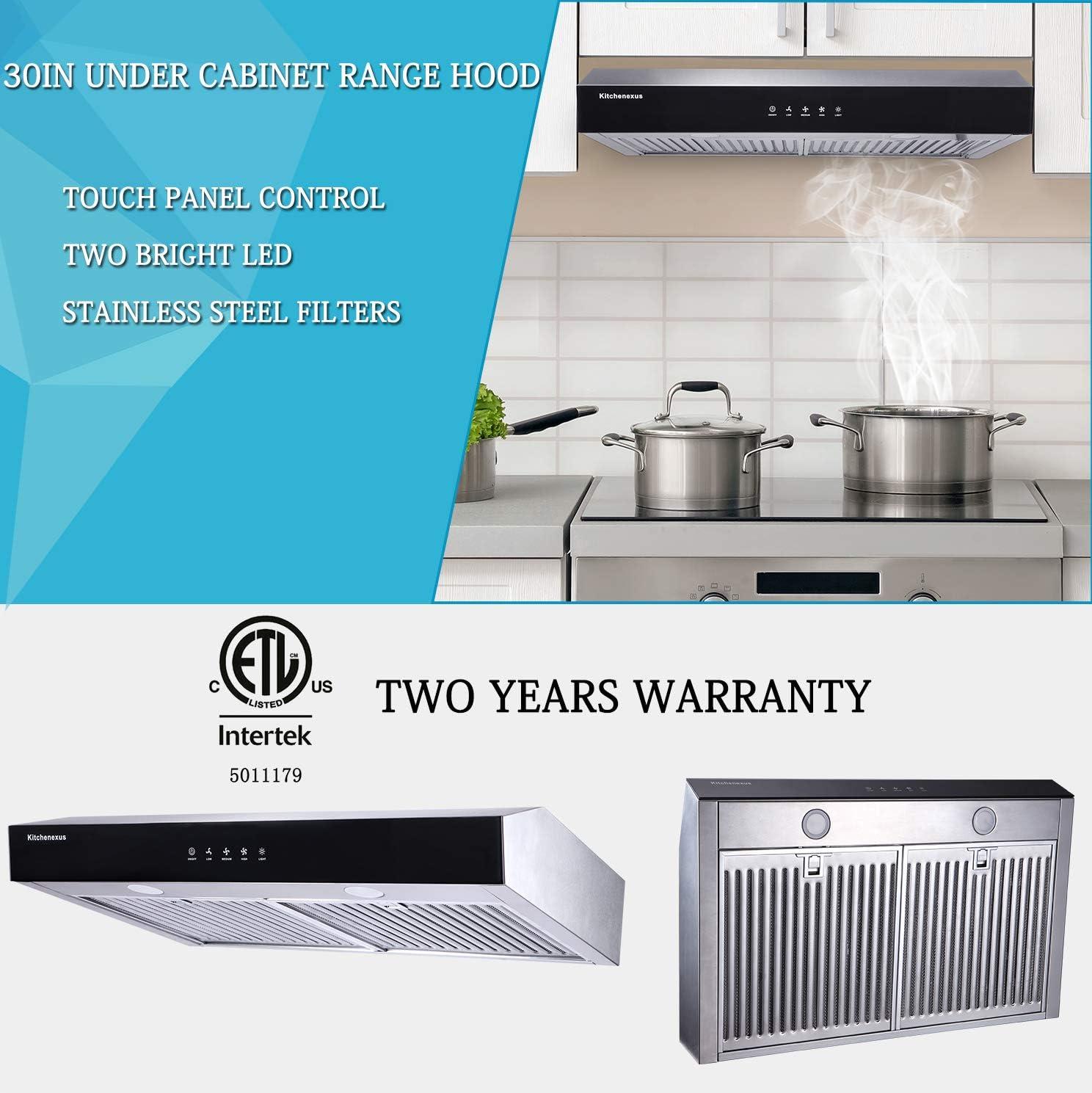 Kitchenexus - Campana de acero inoxidable 300CFM para debajo del armario, sin conductos, pantalla táctil negra, campana de ventilación de cocina con iluminación LED y filtros híbridos de acero inoxidable: Amazon.es: Grandes