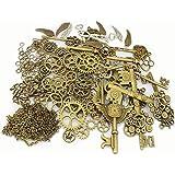 LolliBeads 230 Gram Antiqued Bronze/Silver Metal Skeleton Keys and Wings, Bronze Steampunk Watch Gear Cog Wheel, Chains…