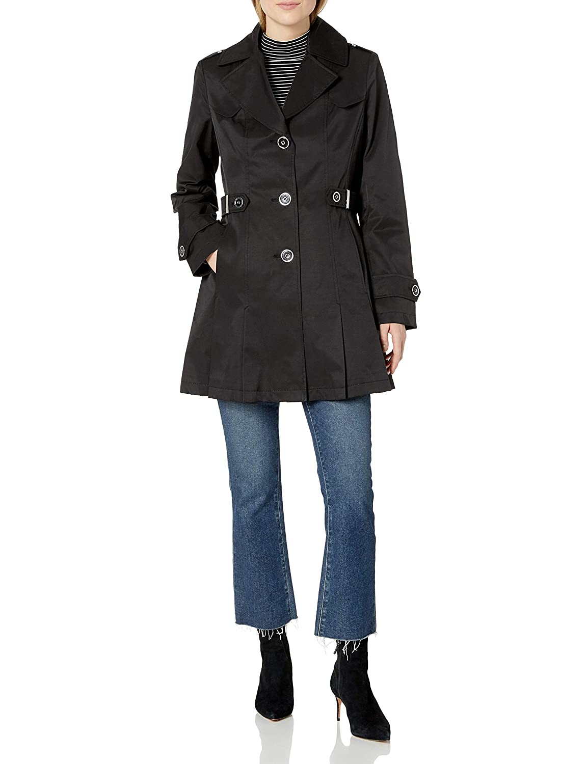 Via Spiga Womens Single-Breasted Pleated Trench Coat