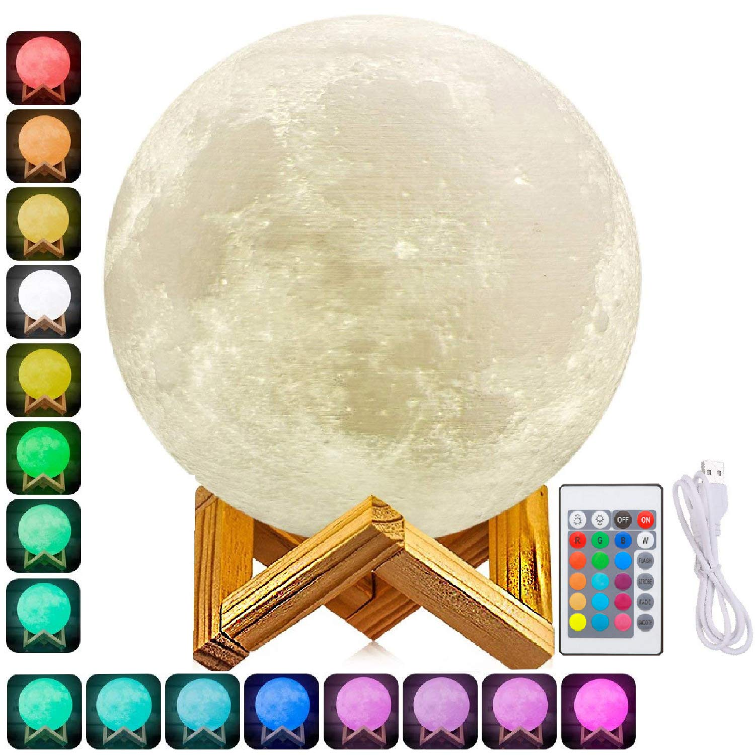 7 Inch Moon Lamp, 3D Printed Moon Light with Stand, The Moon Night Light with LED Warm White 3000K and Warm Yellow 3000K, Touch Control(Diameter18CM) Touch Control(Diameter18CM) zhong guang mei da EML-12