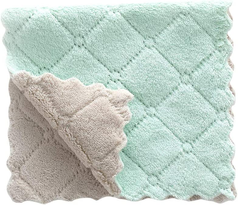 BESSKY Nonstick Oil Coral Velvet Hanging Hand Towels Kitchen Dishclout Washing Tools Dish Cloths for Bathroom Home Travel (2716cm, Green (1PC))