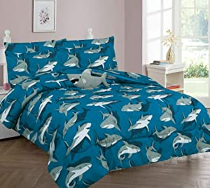 RARE PERFUME Kids Collection 6PC Twin Bed in Bag Comforter & Sheet Set Reversible Assorted Designs (Shark Grey)