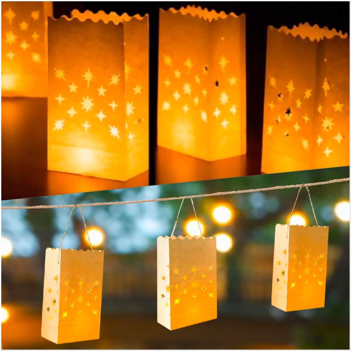 Dreamlight 30 White Luminary Bags/Hanging Lanterns | Flame Resistant | Star Luminaries for Weddings, Birthdays, Parties by Dreamlight