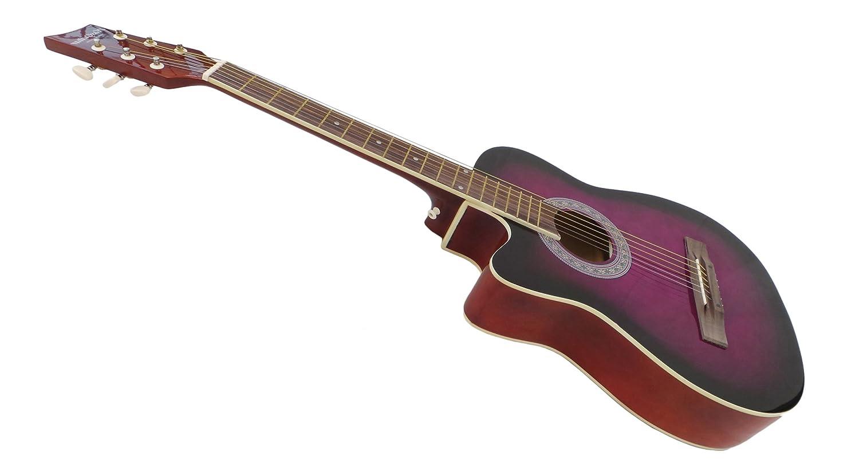 Zurdos Guitarra Acústica morado diseño recortado Pack: Amazon.es: Instrumentos musicales