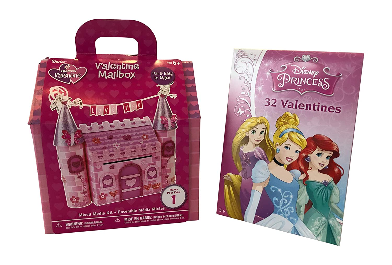 Princess Valentine Mailbox Kit + 32 Count Princess Valentine Cards for Girls (Frozen) Generic