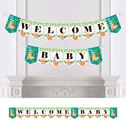 Big Dot Of Happiness Let S Hang Sloth Baby Shower Bunting Banner Party Decorations Welcome Baby