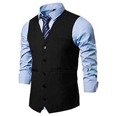 AOYOG Mens Formal Business Suit Vests 5 Buttons Regular Fit Waistcoat for Suit or Tuxedo at Men's Clothing store