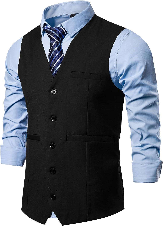 DONGD Mens Formal Suit Vest Business Dress Vest for Suit or Tuxedo