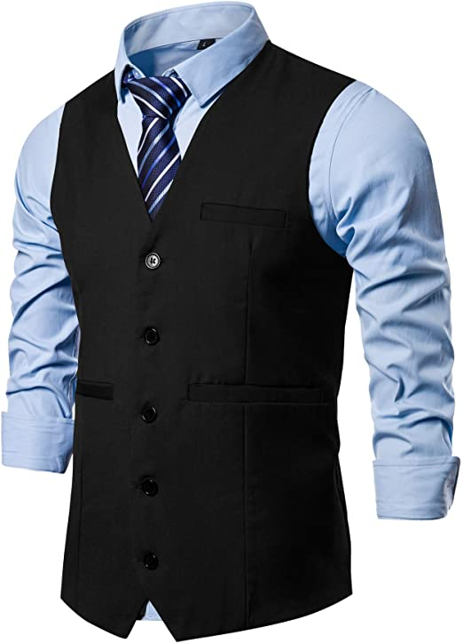 Amazon.com: AOYOG Chaleco formal de 5 botones para hombre ...