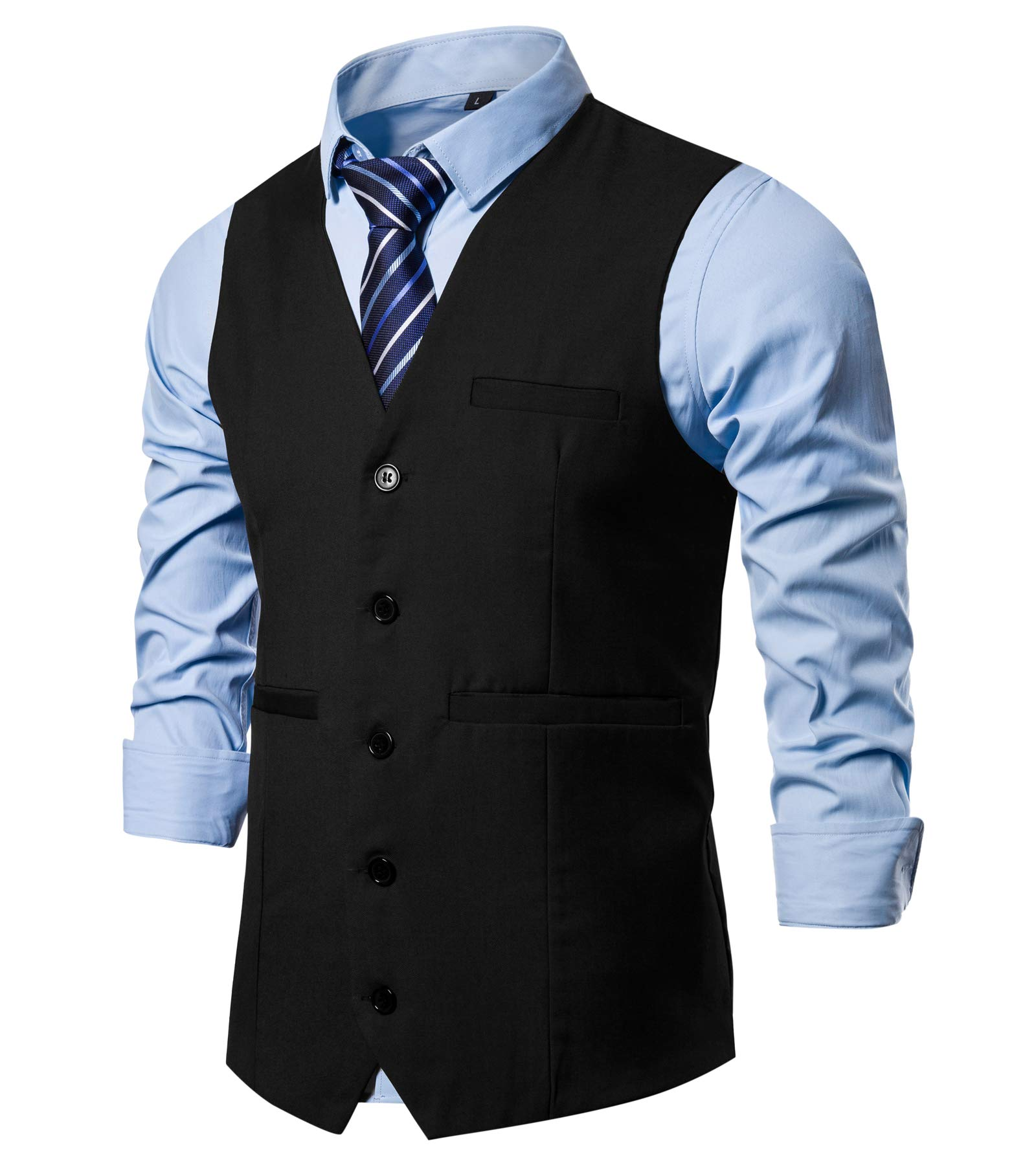 DONGD Mens Formal Suit Vest Business Dress Vest for Suit or Tuxedo Black by DONGD