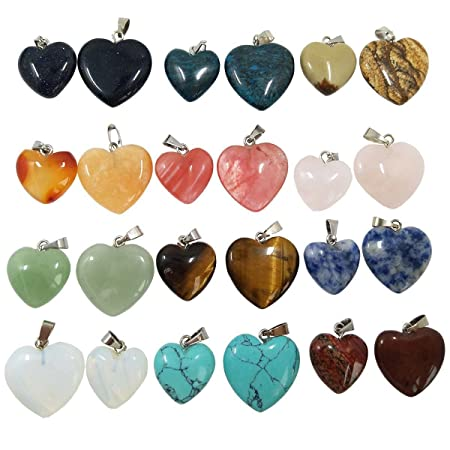 Misscrafts heart stone pendants 24 pack crystal agate tigers eye misscrafts heart stone pendants 24 pack crystal agate tigers eye jade turquoise beads for jewellery making mozeypictures Gallery