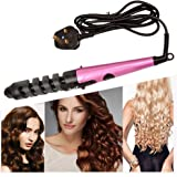 CkeyiN® 360 Degree Rotation Cord Hair Rollers Curling Iron Wand Electric Ceramic Hair Curler Spiral Styling Tools (Pink)