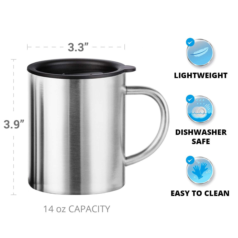 Tazas de café de acero inoxidable con tapa - Juego de 2 ...