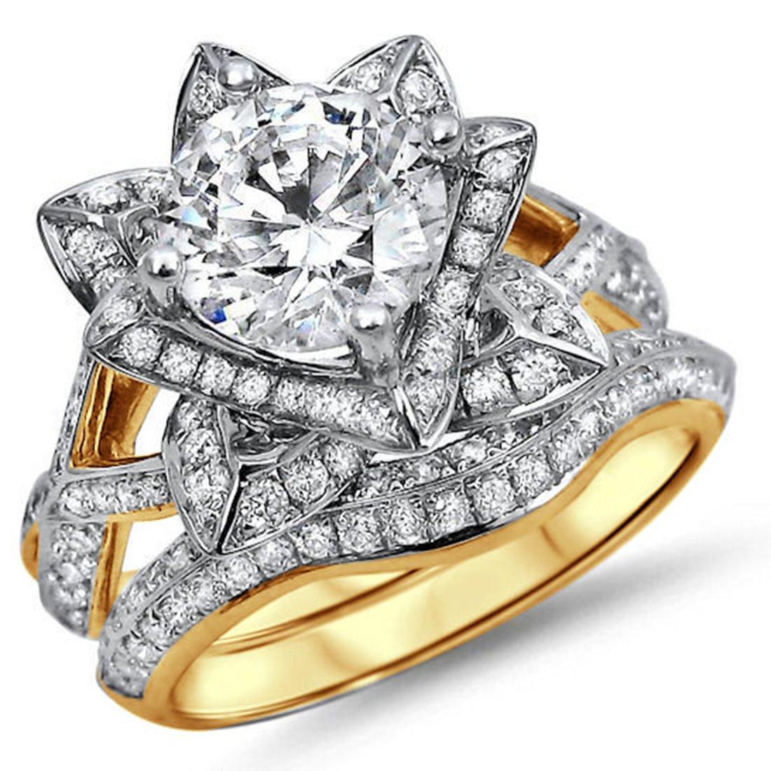 Smjewels 2.05 Ct Round Sim.Diamond Lotus Flower Engagement Ring Bridal Set 14K Yellow Gold Fn