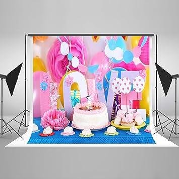 Admirable Photography Backdrop 5 X 7 Pink Birthday Cake Studio Amazon Co Uk Funny Birthday Cards Online Alyptdamsfinfo