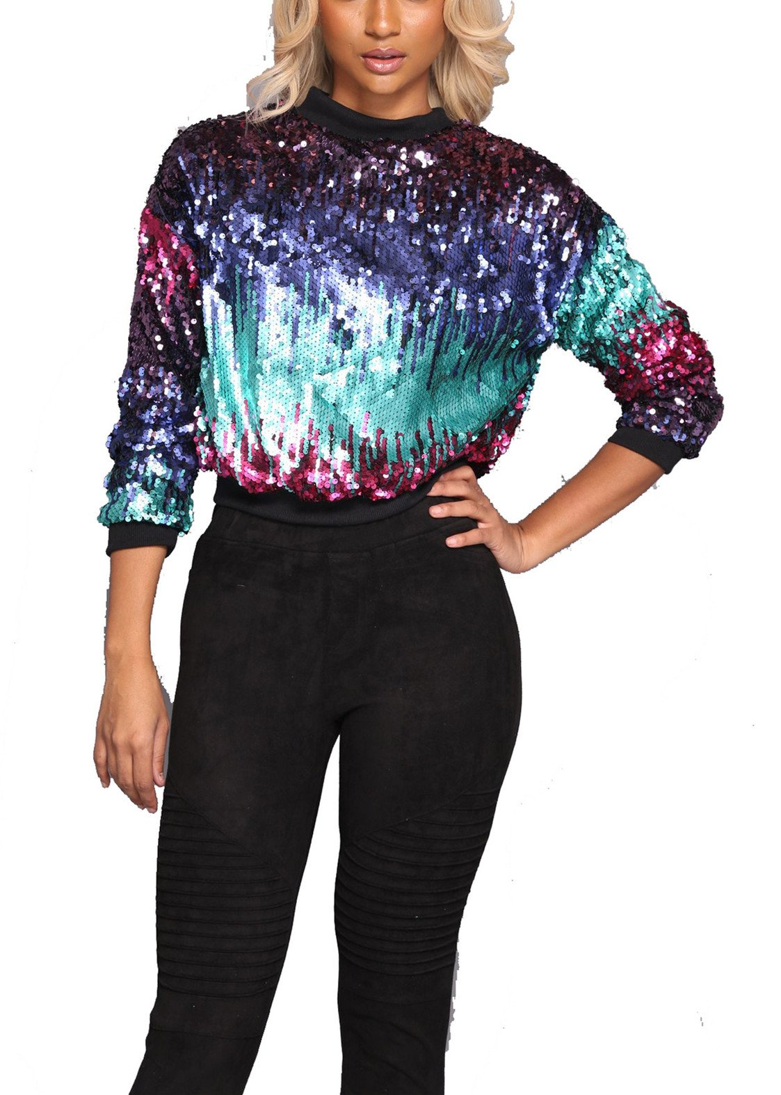 Women's Spring Autumn Fashion Stunning Sequins Pullover Sweatshirt Tunic Tank Top Basic Shirts Blouse Club Dress XL