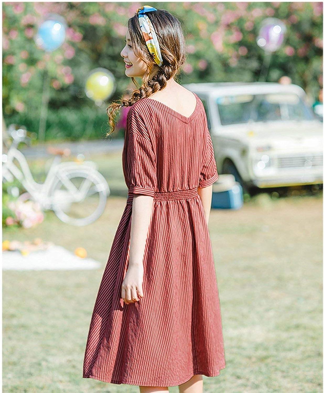2019 Summer V-Neck Literary Embroidery Striped Defined Waist Slim Short Sleeves A-Linea Women Dress Clown