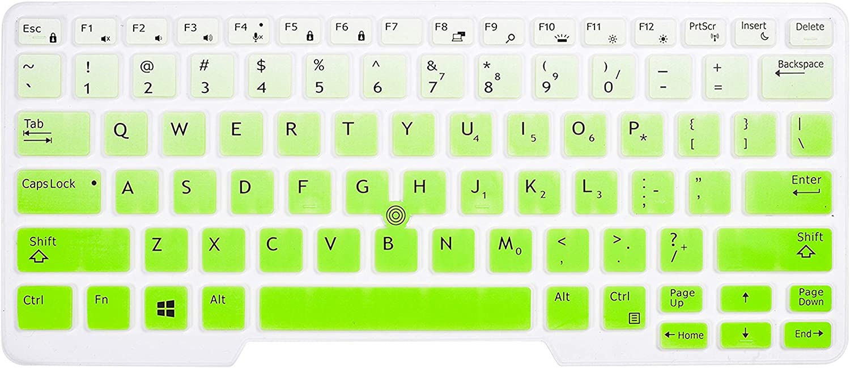"""CaseBuy Keyboard Cover Compatible with Dell Latitude 5480 5490 5491 7490 14"""" Laptop, Dell 3340 E3340 E5490 E5491 E5450 E5470 E7450 E7470 7480 E7480 14"""" Protective Skin with Pointing, Ombre Green"""