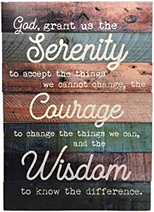 "Rustic Serenity Prayer Wall Decor - Real Wood Serenity Prayer Sign - 12""x17"" - Charming Farmhouse Serenity Sign Decor - Pallet Serenity Prayer Wall Art"