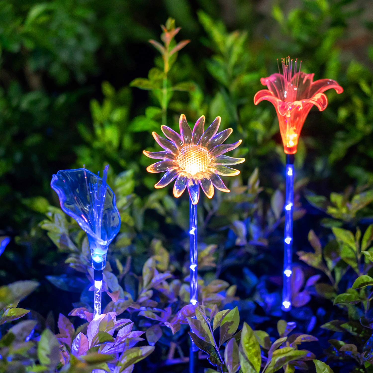 Solar Garden Stake Lights - Set of 3 Decorative Multi-Color Changing LED Flower Staked Solar Clear Fiber Lily, Fiber Calla Lily, Daisy for Outdoor Lawn Pathway Yard Holiday Party Christmas House Decor