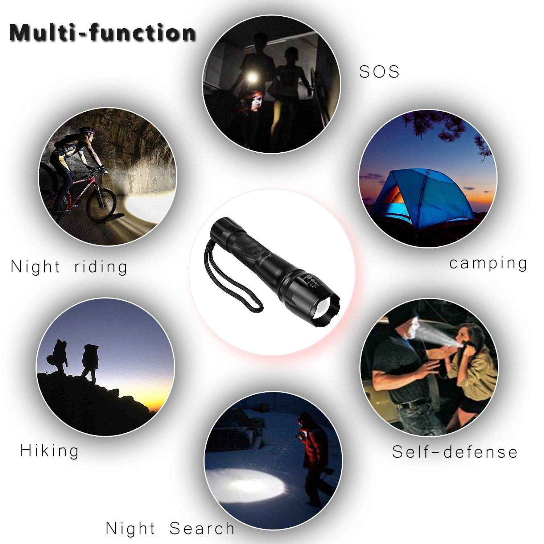Zoweetek linterna LED (1200LM) de Mano, Resistente al clima, ultrabrillante de 5 Modos para Ciclismo, Camping, Montañismo, Senderismo y las actividades al aire libre