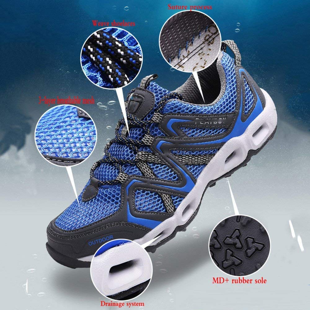 FuweiEncore Beiläufige Wandernde Sportschuhe Der Männer Beschuht Beschuht Beschuht Laufende Schuhe Der Schuhe Im Freien Wasserschuhe Atmungsaktivem Maschenkomfort (Farbe   Blau, Größe   43EU) b7f88b