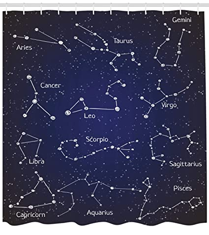 Amazon com: Ambesonne Constellation Shower Curtain, Doodle