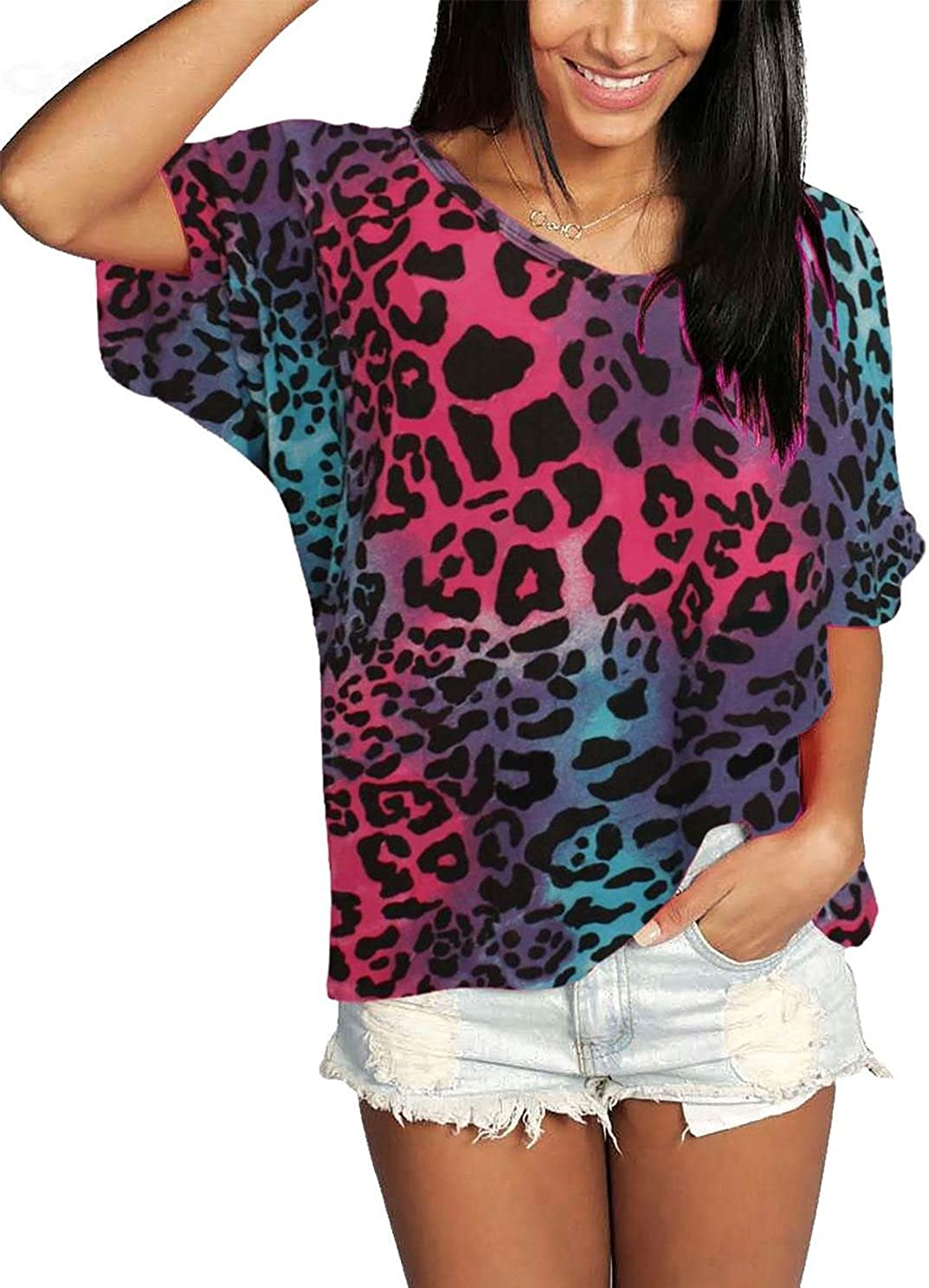 ZEE FASHION Womens Oversize Fit V Neck Top Ladies Baggy Plus Size Batwing Casual T Shirt 8-24