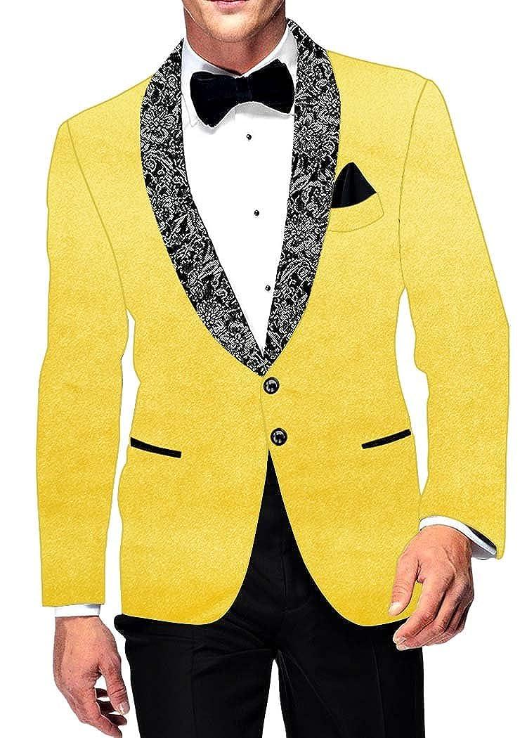INMONARCH Mens Slim fit Casual Yellow Velvet Blazer Sport Jacket Coat Shawl Lapel VB17051