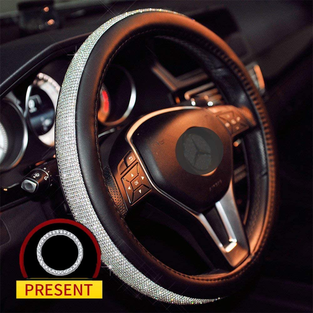 Sino Banyan Diamond Steering Wheel Cover PU Leather Case