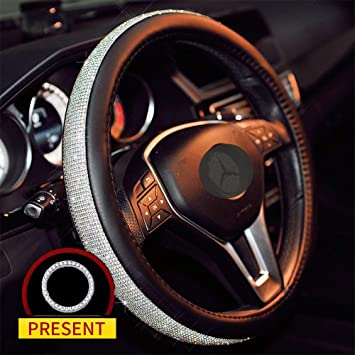 MASO Car Steering Wheel Cover Black PU Leather Soft Skidproof Cover with Crystal Bling Bling Golden Diamond-Universal Size 37-38cm