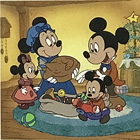 Mickey Mouse A Christmas Carol.Disney Serigraph Etching Of Mickey Mouse Minnie And Family