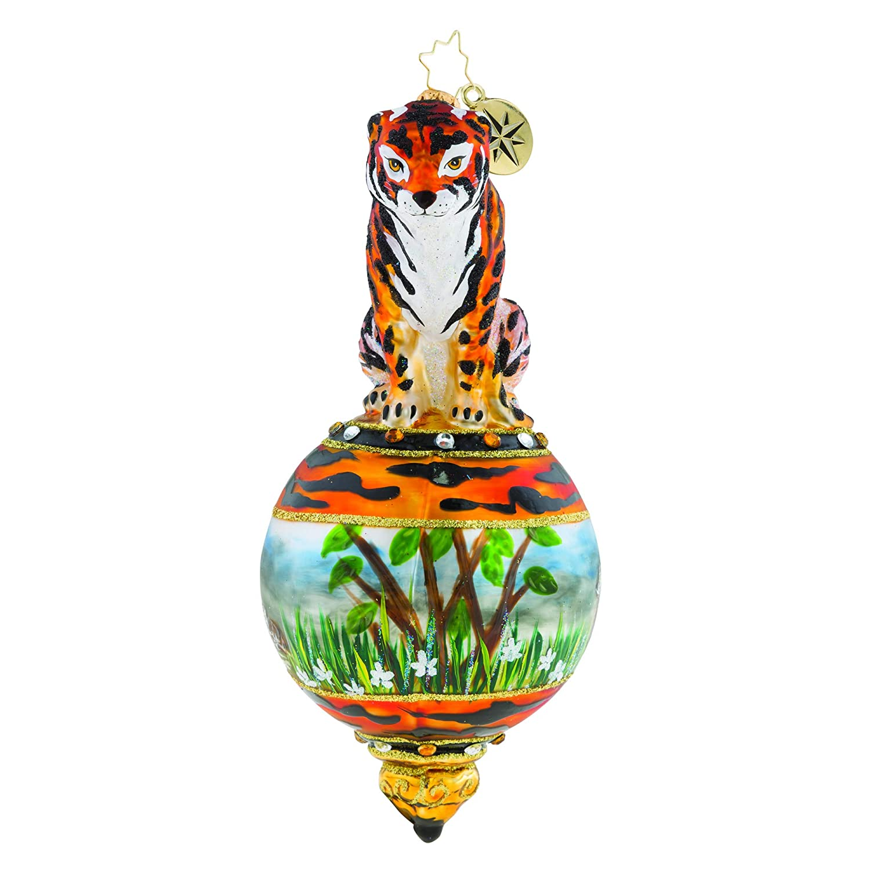 Christopher Radko Eye Tiger Glass Ornament 7.500 Multi-Colored 1019328
