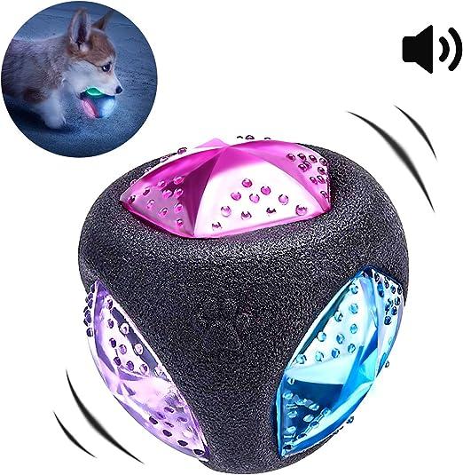 PEDOMUS Perros Juguete Pelota con luz LED y Squeaker, Juguete para ...