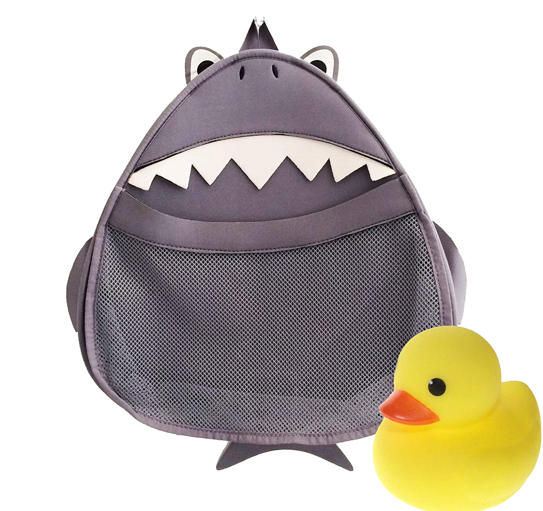 Medlee Hai-Tasche - Spielzeug und Badezimmer-Organizer mit Tiermotiv für Kinder - Gratis Gummiente - perfekte Aufbewahrung für die Badewanne Medlee Products