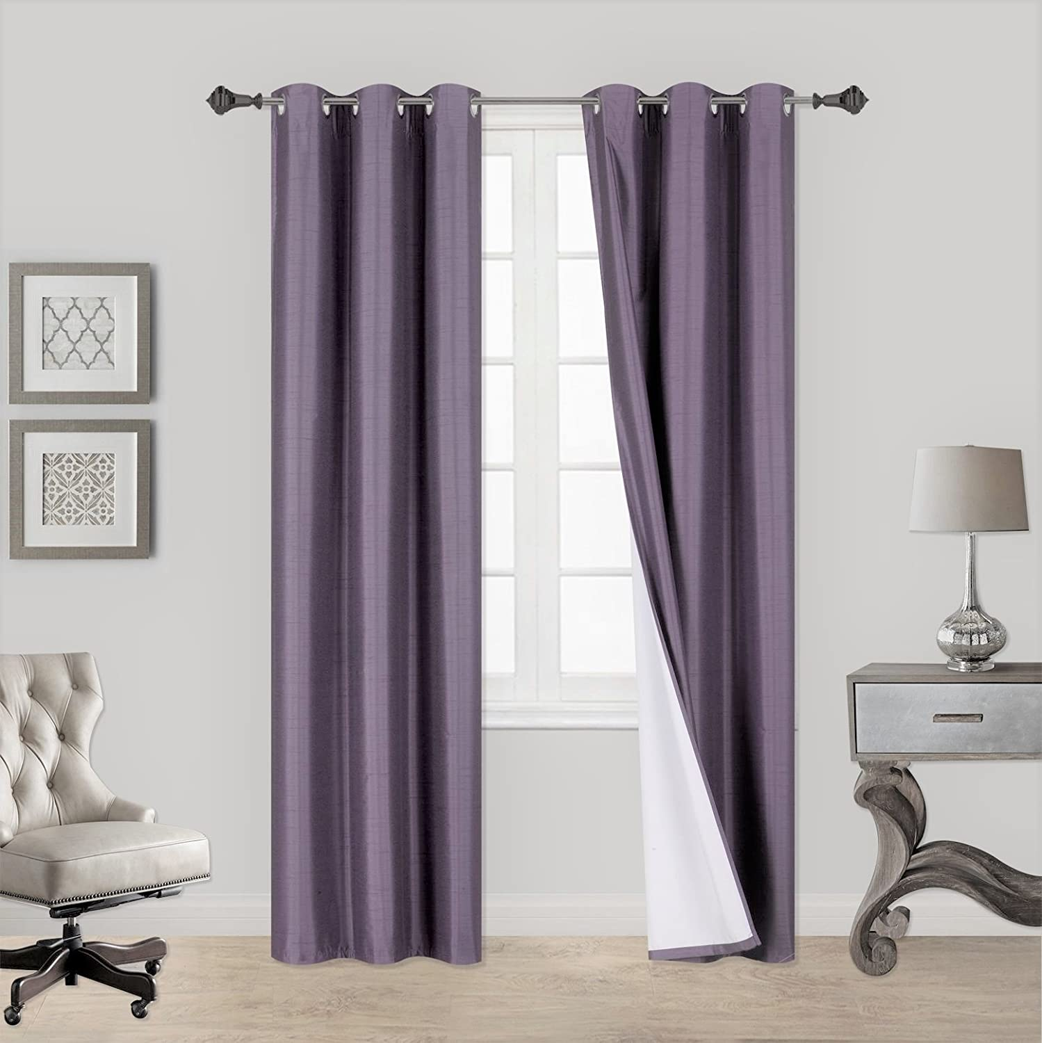 GorgeousHome (AA) 1 LILAC LAVENDER ADAM Solid Window Antique Grommet Top Heavy Thick Foam Lined 100% Blackout Thermal Treatment Drape Curtain Panel, 37