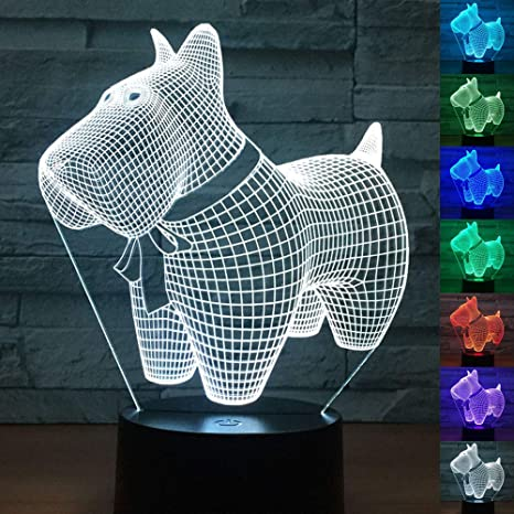 3d Led Dog Optical Illusion Night Light Touch Switch Usb Powered Home Decor Table Lamp For Holiday Birthday Surprise Gift Amazon Com