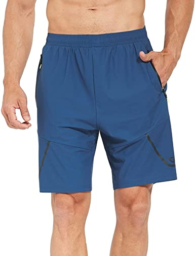 BALEAF Mens Running Athletic Shorts Gym Training Zipper Pockets Quick Dry 2 Pack