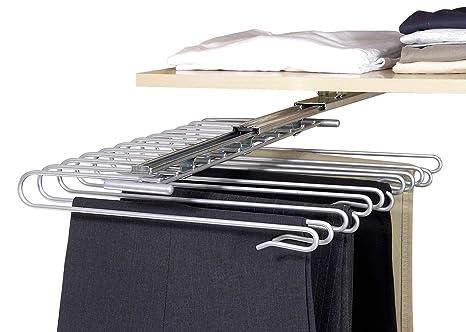 WENKO 5971100 Percha para pantalones con corredera para armario - para 12 pantalones, riel de corredera desmontable, Metal cromado, 33 x 10 x 47 cm, ...