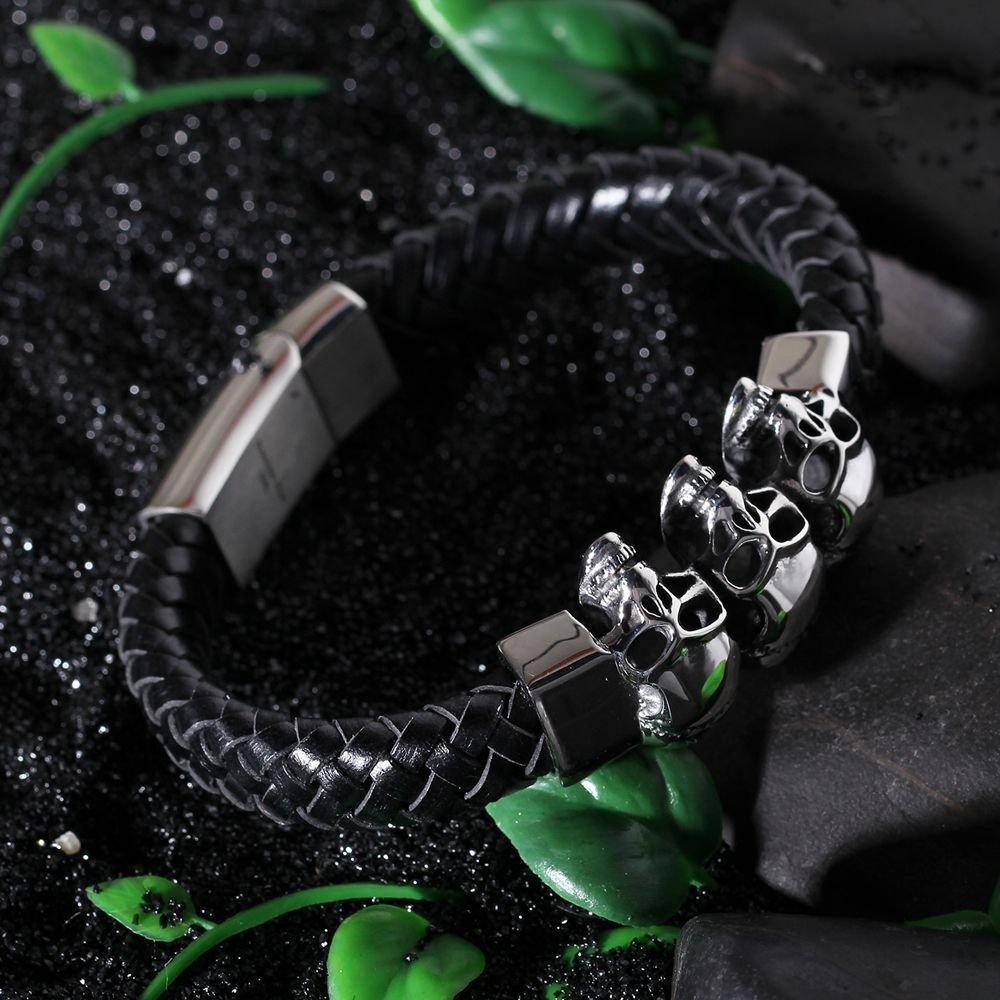 398f6326a360 HAMANY Tejidas a mano de acero inoxidable del cráneo de cuero cuerda pulsera  de la pulsera para hombres  Amazon.es  Joyería