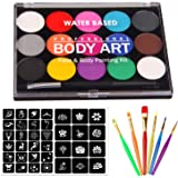 Jeyhoop Face Paint, Professional 15 Color Washable Paints +24 Stencils+ 7 Brushes,Professional Organic Facepaints for Halloween Christmas Make-up Party