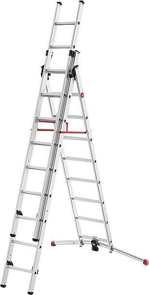 Hailo S100 ProfiLOT - Escalera de Aluminio con Sistema Lot, 2 x 6 + 1 x 5 peldaños, Sistema Lot, regulación de escaleras, hasta 150 kg, 9309-507: Amazon.es: Bricolaje y herramientas