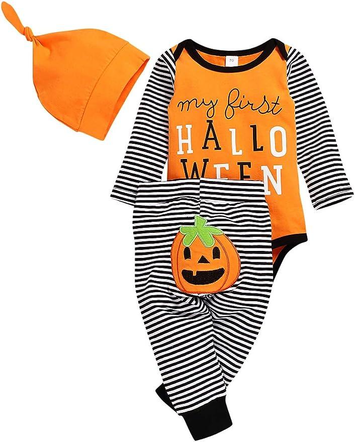 Indoor Shoes 3-Piece Clothing Set MINASAN Halloween Baby Boys Girls Outfits Pumpkin Costume Orange Vest Top Hat
